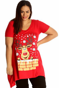 New-Womens-Top-Plus-Size-Ladies-Rudolph-Reindeer-Christmas-Print-Sale-T-Shirt