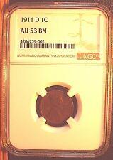 1911 D 1 C, NGC AU 53 BN, Choice Better Date, Sharp Strike, Original