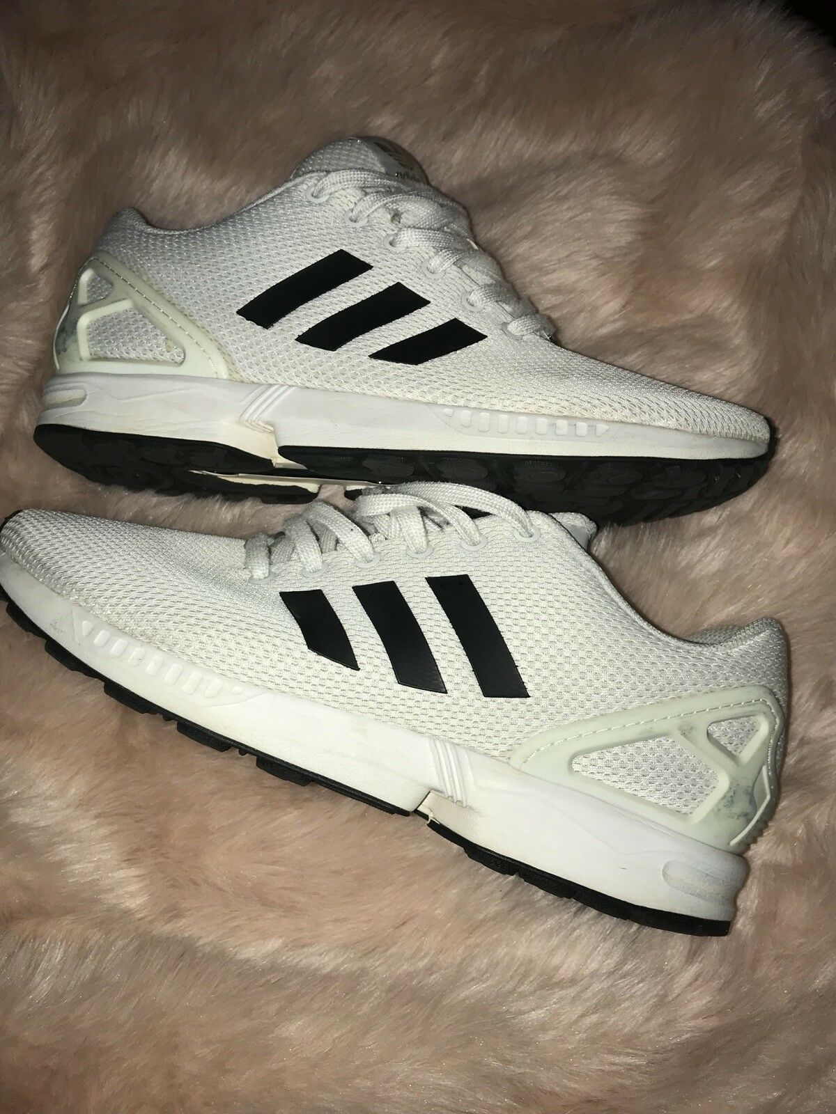 Adidas ZX Flux White Black gold BA8655 Pre-Owned Great Condition