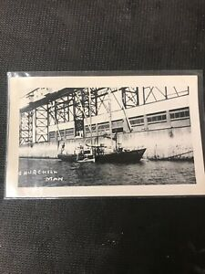 real-photo-Postcard-Churchill-Manitoba-Pier-Dock-With-Boats-In-Water-A1