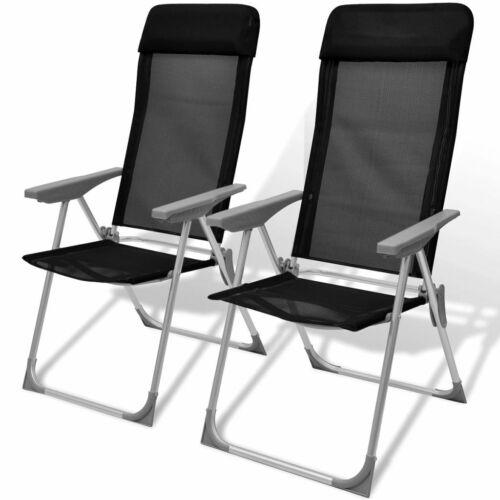 vidaXL 2 Folding Camping Chairs Aluminum Reclining Position Camp Outdoor Black