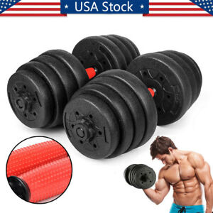 66LB-Weight-Dumbbell-Set-Adjustable-Cap-Gym-Barbell-Plates-Body-Workout-Training