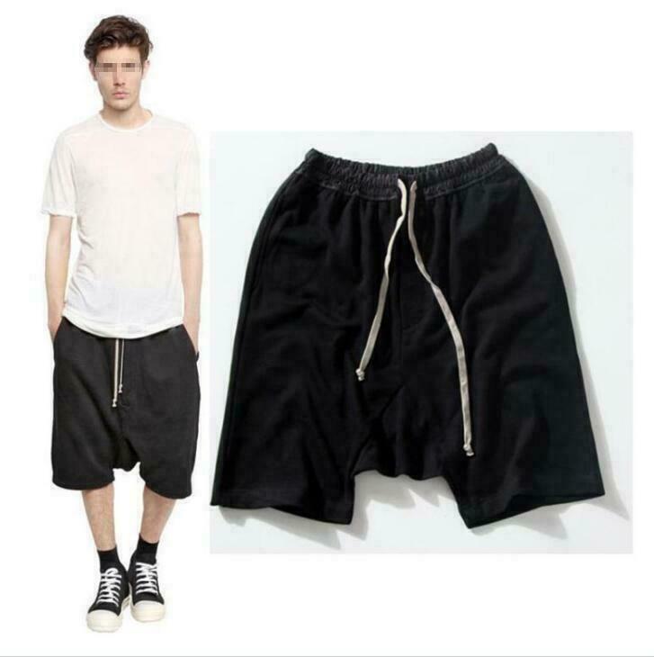 Correa de Cintura Elástica Pantalones Cortos Para Hombre Harén Largo Hasta La Rodilla Algodón Informal Moda