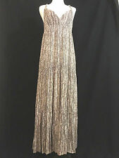 AX ARMANI EXCHANGE Women's Pink/Brown Spag Strap Tiered Maxi Dress Sz 6 *5406
