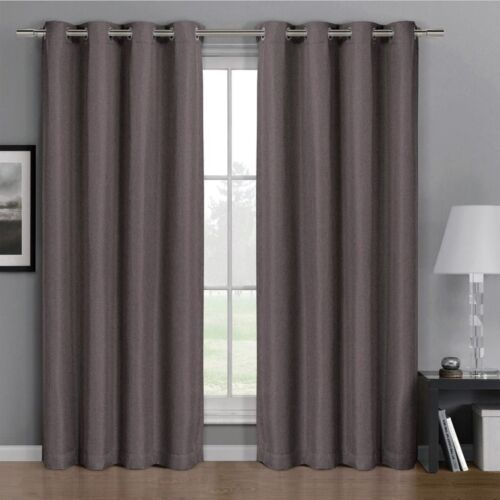 Single Panel Simple Gulfport Faux Linen Blackout Weave Curtains With Grommets