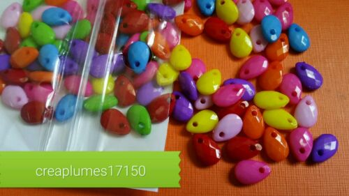 Lot de 100 perles facettes acrylique multicolore 9x6x3mm