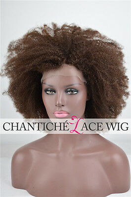 """Afro Kinky Curly Brazilian Remy Human Hair Full Lace Front Wigs Black Women 16"""""""