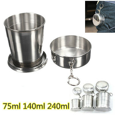 75 140 240ml Stainless Steel Portable Folding Telescopic Collapsible Outdoor Cup