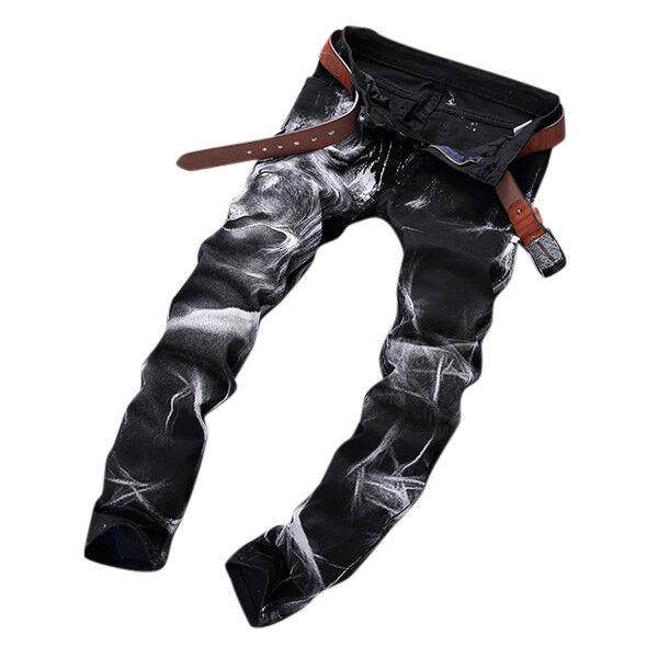 Mens Fashion Wolf Printing nero Straight Leg Denim Long Long Long Pants Jeans US Dimensione 30- 744dba