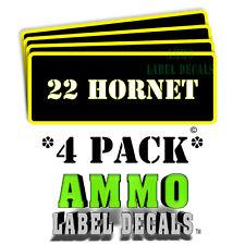 """22 HORNET Ammo Label Decals Ammunition Case 3"""" x 1"""" sticker 4 PACK -YWbkRD"""