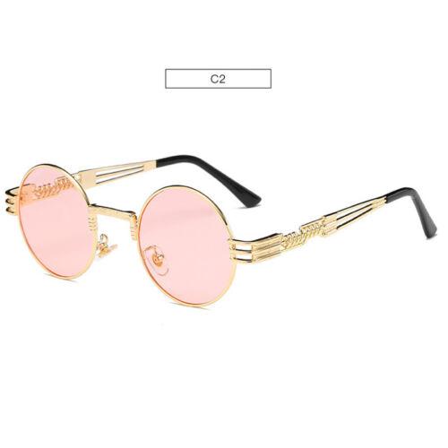 2019 John Lennon Steampunk Sunglasses Gold Metal Round Mirrored Retro Sunglasses