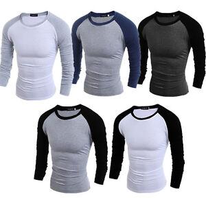 a1bcfc134c1 Mens Plain Full Sleeve T Shirt Slim Fit Long Extended Crew Neck ...