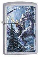 Zippo Lighter: Anne Stokes Christmas Dragon - Satin Chrome 77589