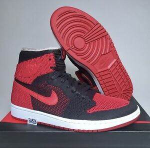 reputable site e1cd9 08052 Details about Nike Air Jordan Retro 1 HI Flyknit OG Banned Bred High Red  And Black 919704 001