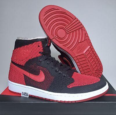 best service 69d62 8d985 Nike Air Jordan Retro 1 HI Flyknit OG Banned Bred High Red And Black 919704  001 | eBay