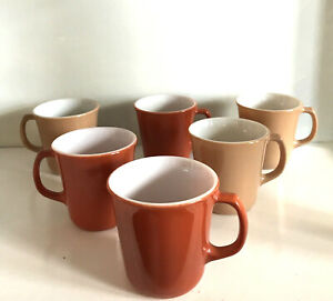 Set 6 PYREX Corning Milk Glass 3 Rust/ 3 Tan Beige Coffee Cups Mugs D Handle