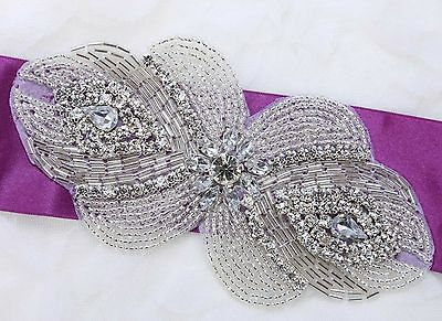Wedding Bridal Dress Gown Sash Belt Craft Beaded Sew Iron Applique DIY Craft