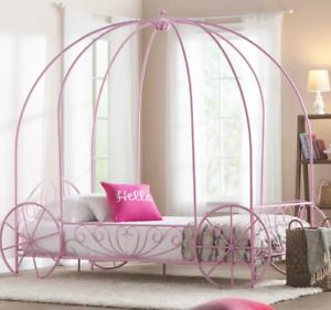 Princess Carriage Bed Canopy Pink Metal Frame Twin Cinderella Girls ...