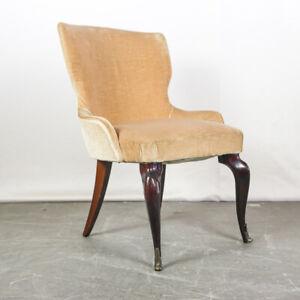 Poltrona Sedia Armchair Legno Velluto Beige Design Anni 50 Vintage Modernariato Ebay