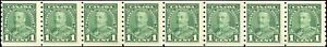 Mint-Canada-1935-Strip-of-8-1c-Scott-228-Pictorial-Coil-Stamps-Never-Hinged