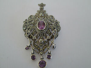 BEAUTIFUL 925 SILVER MARCASITE & AMETHYST BROOCH NECKLACE PENDANT DANGLING STONE