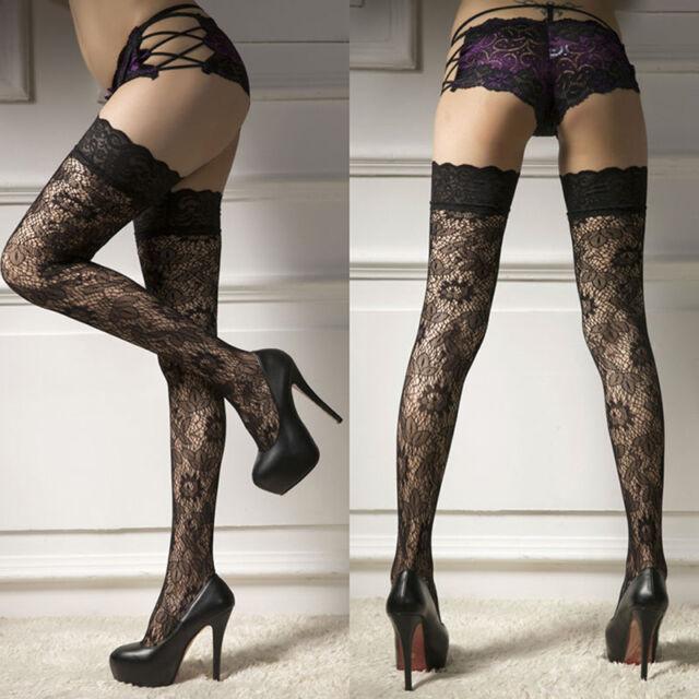 Women Swxy Sheer Lace Top Thigh-Highs Stockings Garter Belt Suspender Set Pro AU