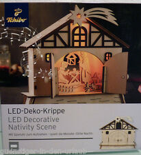 TCM Tchibo LED Krippe Deko Krippe Weihnachtskrippe mit Spieluhr aus Holz NEU