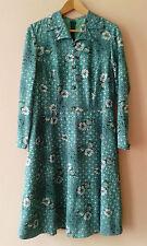 60s 70s vintage green floral day dress mod secretarial gogo geek 16 18