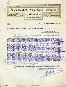 """Pubblicità lettere """" SOCIETA' delle MACCHINE GRAFICHE - MILANO """" 1905 - Italia - Pubblicità lettere """" SOCIETA' delle MACCHINE GRAFICHE - MILANO """" 1905 - Italia"""