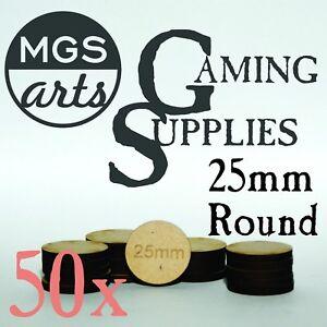 50x 25mm Round Laser Cut MDF Miniature Bases