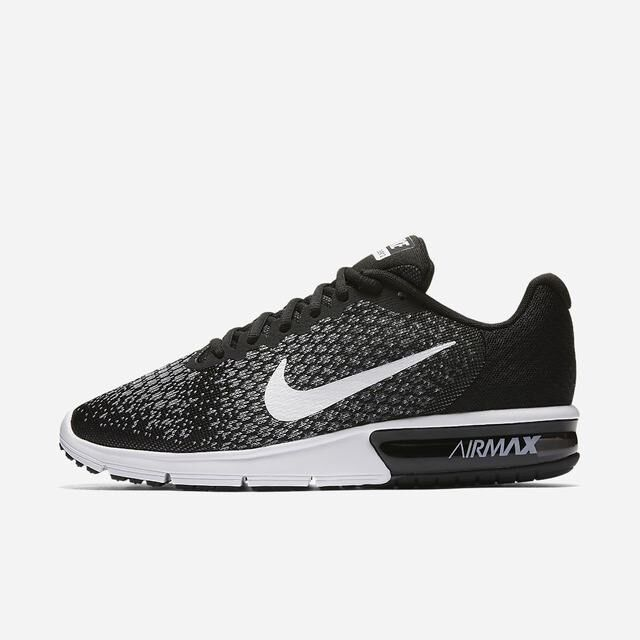 05cf5a65835d Nike Air Max Sequent 2 Black White Grey 852461-005 Men s Running Shoes ...