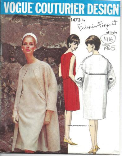 de Federico Forquet 1416R 1965 Vintage Vogue Sewing Pattern B32 Abrigo y vestido