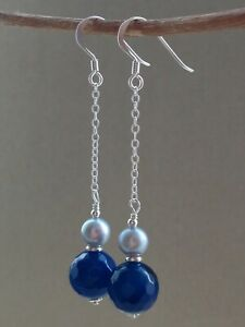 Blue Banded Agate Gemstone Beads & Silver FW Pearls Sterling Silver Earrings