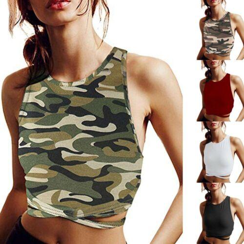 Women Summer Shirts Camouflage Sleeveless Sport Vest Short Blouse Tops Crops UK
