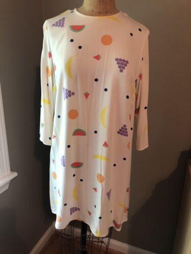 Rare Dusen Dusen Fruit Print Shift Dress Size Larg