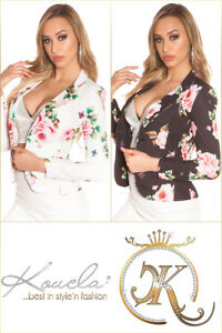 Taillierter Blazer mit Reverse-Kragen und Blumen-Muster