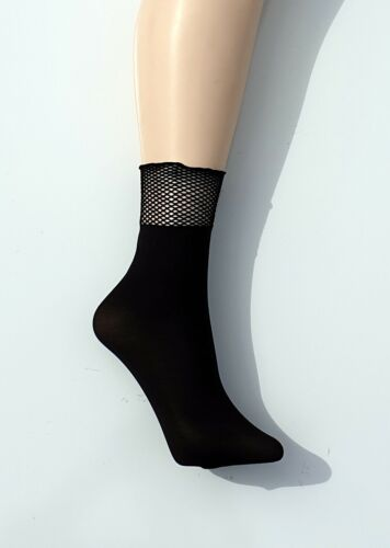 Pop Socks 40 Denier Ankle Highs With Fishnet Top
