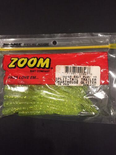 Zoom Super Salt Plus Slit Tail Trailer Chart Glitter 20 Pack