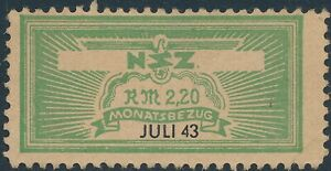 Stamp Germany Revenue WWII 3rd Reich NSZ National Newspaper Jul 1943 MNG
