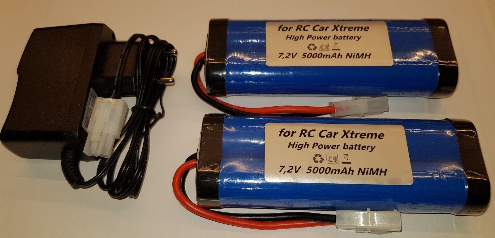 2 x 6-Zeller 7,2v 5000mAh X-Treme Rc Spina Tamiya Incl. 1 x Caricabatteria