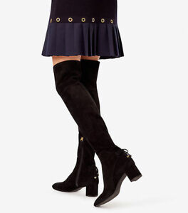 338bb3dad118ef  650 New TORY BURCH Over The Knee LAILA OTK Black STRETCH Suede Boots  Charms 7 9