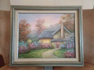"C. Jaffey Original, Signed Oil on Canvas Cottage Scene 🌸 Wood Frame 16""x 20"""