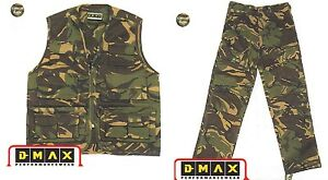 Kids-Boys-Army-Camo-Clothing-Combat-Waistcoat-and-Trouser-Suit-Multipockets