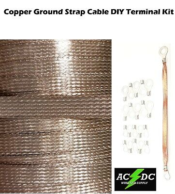 """25/' Copper Ground Strap Cable KIT DIY Terminal Kit 3//8/""""  FLAT Braid Wire"""
