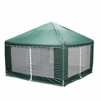 King Canopy Gp1313 13-feet By 13-feet Garden Party Canopy, Green With Bug Screen on sale