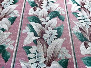SALE-Cottage-Blush-Pink-Tropical-Barkcloth-Vintage-Fabric-Drape-Curtain-6-Avail