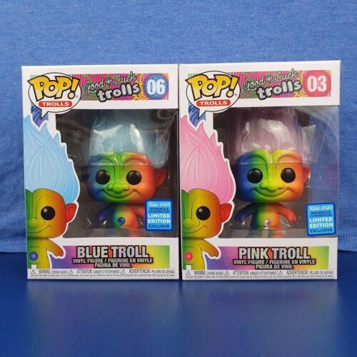 Blue and Pink Rainbow Troll Funko Pop Vinyl  Bundle WonderCon Wondrous Con 2020