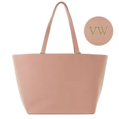 PERSONALISED Womens Ladies Genuine Real Leather Tote Handbag Bag Taupe