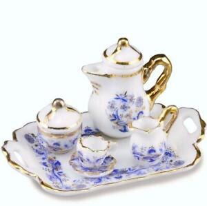 DOLLHOUSE-Tea-Coffee-Set-for-One-1-642-5-Reutter-Porcelain-Blue-Onion-Miniature
