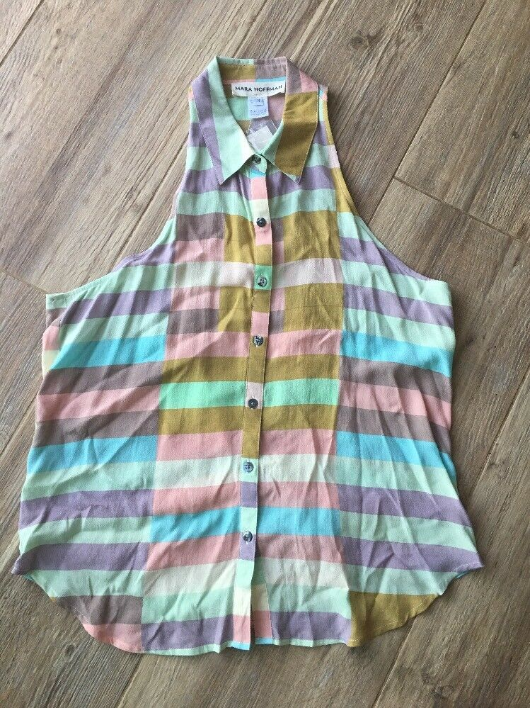NWT Mara Hoffman Geo Pastel colord Abstract Top